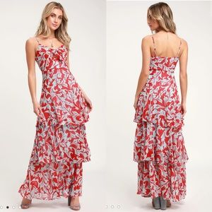 Lulus Floral Print Tiered Maxi Dress